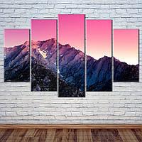 """Модульна картина """"Схід сонця над горами"""", фото 1"""
