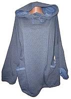 Кофта женская с капюшоном принт карманы батал (деми)
