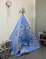 """Детский игровой домик, вигвам, палатка, шатер, шалаш """"Ловец снов- голубой"""", фото 1"""