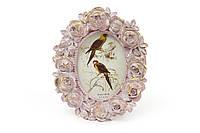 """Рамка для фото """"Розы"""". Розовая с золотом. 11 х 13 см."""