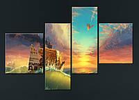 """Модульная картина """"Бумажный кораблик"""", фото 1"""