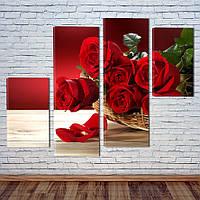 """Модульная картина """"Букет красных роз"""", фото 1"""