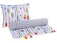 Комплект в детскую коляску BabySoon Маленький индеец одеяло 75 х 78 см подушка 30 х 40 см плюш серый (348)