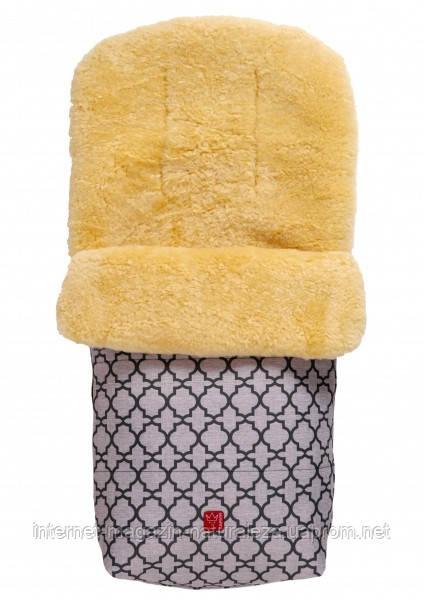 Теплый конверт ТМ Kaiser Natura овчина антрацит с орнаментом