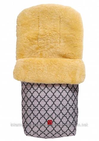 Теплый конверт ТМ Kaiser Natura овчина антрацит с орнаментом, фото 2