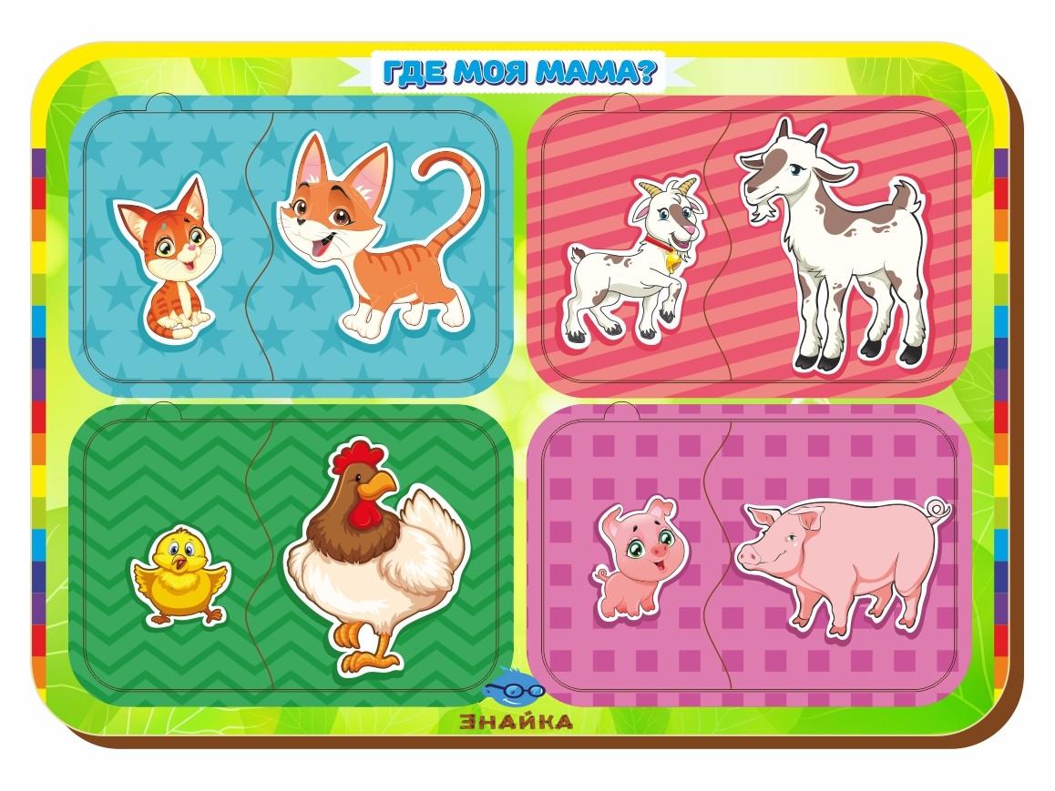 Паззл парный «Кто что ест?», курица-корова-заяц-коза, 012404