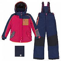 Зимний комплект для девочки 6 лет р. 116-122 (куртка, полукомбинезон, манишка) ТМ Deux par Deux Синий+красный J825-481