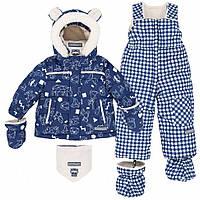 Зимний комплект для мальчика 12, 18, 24 месяцев (куртка, полукомбинезон, рукавички, манишка) ТМ Deux par Deux A501B-001B