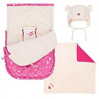 Зимний конверт для девочки с рождения до 9 мес. (конверт, флисовая шапочка, пледик) ТМ Deux par Deux Розовый A401G-001G