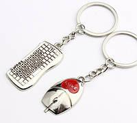Брелоки 2шт в виде клавиатуры и мыши (с надписью LOVE) для компьютера металл SKU0000839