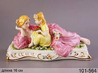 Статуэтка Мама с дочкой 16 см фарфор