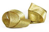 Упаковочная лента парча, 4см, 23м, золото