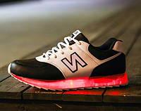 LED кроссовки new balance со светящейся подошвой