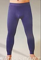 Кальсоны термо мужские х/б с бамбуком EMS, с начёсом, чёрные, синие, L-3XL размеры, 01003
