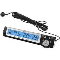 Автомобильный термометр(внешний и внутренний) с часами и подсветкой VST-7043