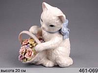 Статуэтка Кошка с цветами 20 см фарфор