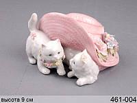 Статуэтка Котики в шляпе 9 см фарфор