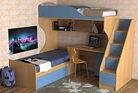 Ліжко горище на два спальних місця ( захист, сходи-комод,полиці, стіл)