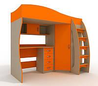 Кровать чердак (шкаф,стол, тумба,полки,лестница)