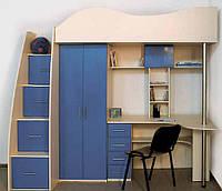 Кровать чердак ( шкаф, стол, защита,полки, тумба)