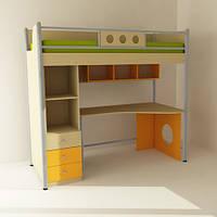 Кровать чердак (стол,полки, шкафчики)