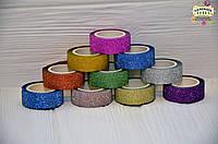 """Набор бумажного декоративного скотча """"Блеск"""", 15мм, 5м, 10 шт. разных цветов"""