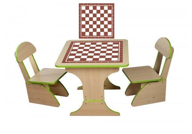 Игровой столик растущий +2 стульчика, Шахматы 302FP, фото 2