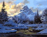 Картины по номерам 40×50 см. Горный пейзаж зимой Художник Боб Росс