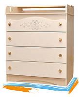"""Комод """"Swarovski Мишка"""" для детских вещей (4 ящика; комод: пеленальный, детский; размер 90х80х47 см) ТМ Вальтер"""