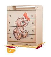 """Комод """"Миша"""" детский (4 ящика, комод - пеленальный, детский, классический; размер 90х80х47 см) ТМ Вальтер"""