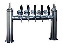 Пивная колонна DRESDA на 6 сортов пива, с кранами и медальонами, хромированная, Bevco, Италия