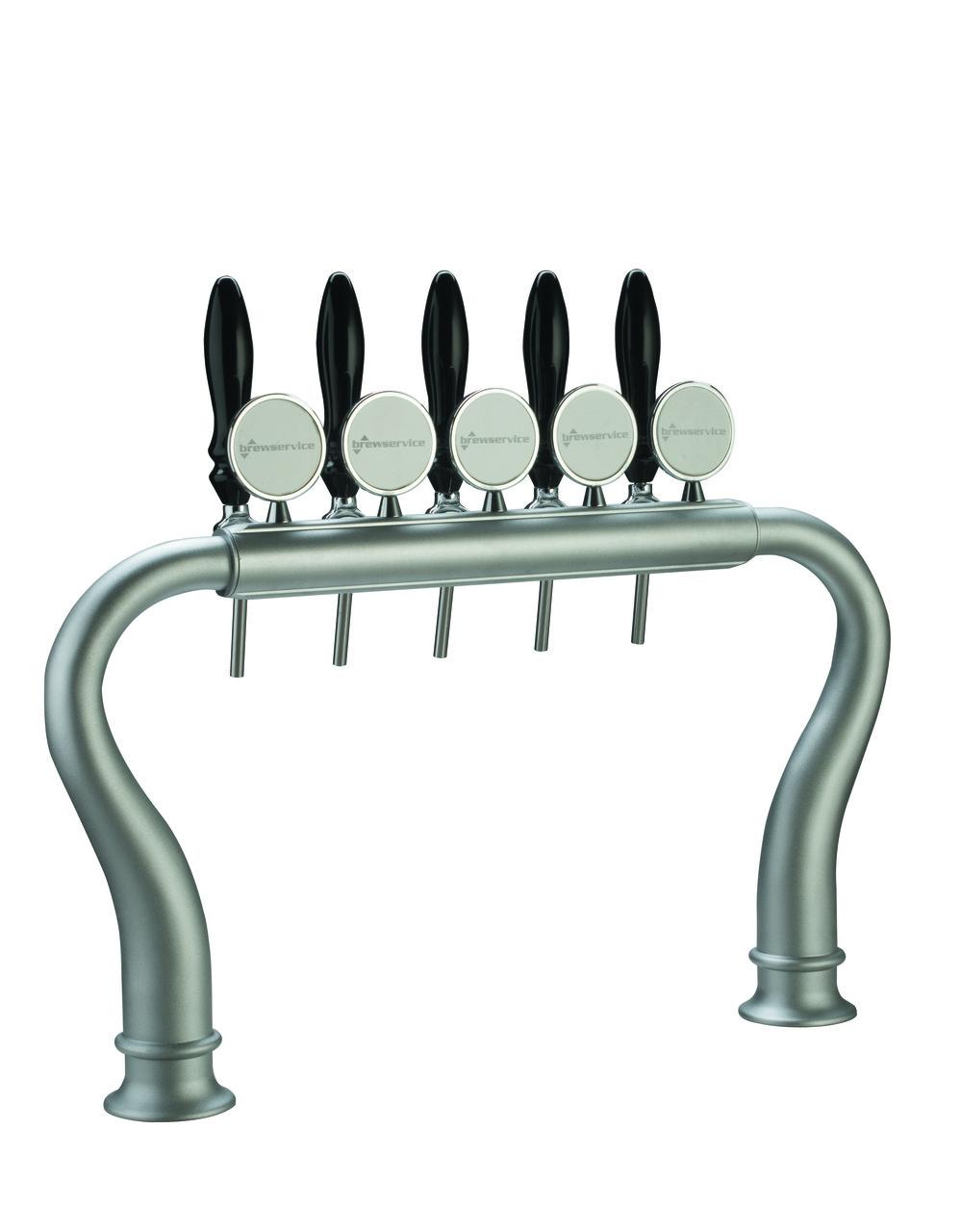 Пивная колонна BRIDGE на 6 сортов пива, с кранами и медальонами, хромированная, Bevco, Италия