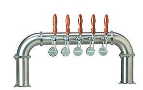 Пивная колонна BOND на 6 сортов пива, с кранами и медальонами, хромированная, Bevco, Италия