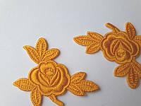 """Аплікації Трояндочки"""", жовто-оранжеві , 5 см  (комплект 3 шт)"""