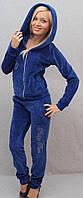 Велюровый костюм со стразами синий, фото 1