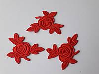 """Аплікації Трояндочки"""", червоні, 5 см  (комплект 3 шт) Аппликация клеевая для одежды"""