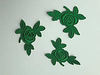 """Аплікації Трояндочки"""", зелені, 5 см  (комплект 3 шт)"""
