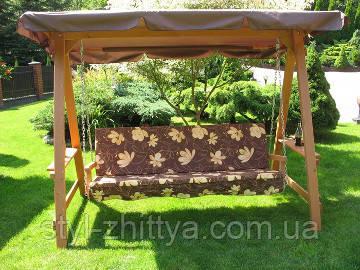 Дерев'яна гойдалка на 3 особи з регульованим дашком + подушка