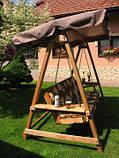 Дерев'яна гойдалка на 3 особи з регульованим дашком + подушка, фото 4