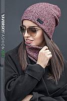 Женский комплект шапка и хомут в разных цветах 177