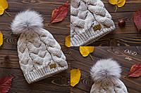 Модная вязанная зимняя шапка UGG с бубоном (разные цвета)