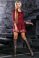Шикарное женское платье с вышивкой, эко замш, марсала, размер 42-48