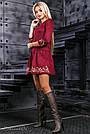 Нарядное платье с вышивкой женское размеры от 42 до 48, эко замш, марсала, фото 2