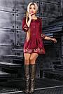 Нарядное платье с вышивкой женское размеры от 42 до 48, эко замш, марсала, фото 3