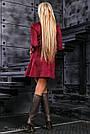 Нарядное платье с вышивкой женское размеры от 42 до 48, эко замш, марсала, фото 4