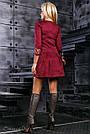 Нарядное платье с вышивкой женское размеры от 42 до 48, эко замш, марсала, фото 5