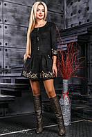 Шикарное женское платье с вышивкой, эко замш, чёрное, размер 42-48