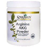 Аргинин, Arginine AKG Powder Lemon Flavored, Swanson, 12.3 oz (350 грамм) порошок