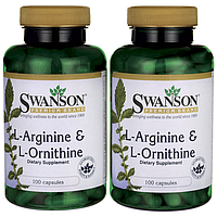 L-Аргинин & L-Орнитин, L-Arginine & L-Ornithine, Swanson, 500/250 мг, 200 капсул