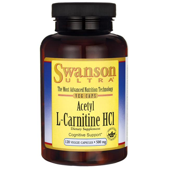Ацетил L-Карнитин Гидрохлорид, Acetyl L-Carnitine HCl, Swanson, 500 мг, 120 капсул